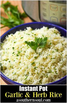 Rice made in the Instant Pot with garlic, fresh parsley and chives, along with b. Rice made in the Instant Pot with garlic, fresh parsley and chives, along with butter is an easy to make side dish that turns out perfectly every time! Rice Recipes For Dinner, Side Dish Recipes, Jambalaya, Food Network, Garlic Butter Rice, Herb And Butter Rice Recipe, Garlic Herb Rice Recipe, Buttered Rice Recipe, Seasoned Rice Recipes
