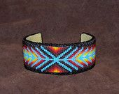 Native American Beaded Chevron Bracelet With The Colors Of The Southwest With a Splash of Turquoise by LJ Greywolf