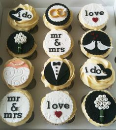 Wedding cupcakes by elsie Wedding cupcakes by elsie – Cupcake Wedding Sweets, Wedding Cookies, Wedding Shower Cupcakes, Wedding Cupcake Toppers, Engagement Cupcakes, Cupcakes Decorados, Fondant Cupcakes, Mini Cakes, Shower Cakes