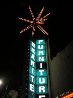 Granite Furniture revolving neon sign at night (SLC), by AKA Mike Horshead Old Neon Signs, Vintage Neon Signs, Vintage Ads, Best Memories, Childhood Memories, Salt Lake City Utah, Slc, The Good Old Days, Repurpose