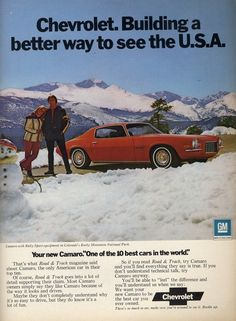 """'71 Camaro Snow Ad """"Building a Better way to see the USA"""""""