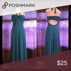 Maxi dress Bra top, halter neck, open back, floor length. Perfect condition, teal/blue color Victoria's Secret Dresses Maxi