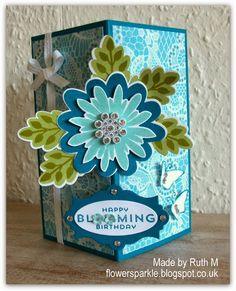 Flower Sparkle: Stampin' Up! Flower Patch Floating Front Birthday Card