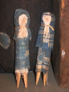 Clothespin Doll Set pic 1-doll, handmade, handmade doll, primitive, primitive doll, primitive handmade doll, antique blue, antique blue calico homespun, blue homespun, antique homespun