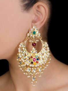 Buy Multicolor Floral Navratan Kundan Earrings Metal Alloy Semi Precious Stone Crystal Pearl Jewelry Fashion Glittering Tales & Jadau Necklaces and Accessories Online at Jaypore.com