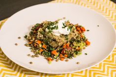 lentils with broiled eggplant