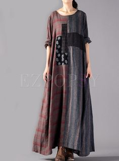 Ethnic Retro Distressed Plus Size Splicing Maxi Dress - Herren- und Damenmode - Kleidung Backless Maxi Dresses, Maxi Robes, Maxi Dress With Sleeves, Women's Dresses, Plus Size Dresses, Dress Skirt, Dress Outfits, Fashion Dresses, Dresses Online