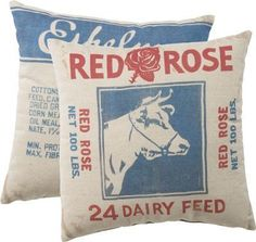 Red Rose Dairy Feed Sack Pillow