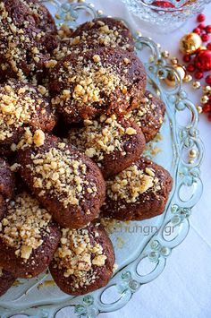 Kitchen Stories: Melomakarona Honey Cookies with Dark Chocolate Greek Desserts, Cookie Desserts, Cookie Recipes, Dark Chocolate Recipes, Honey Cookies, Honey Syrup, No Knead Bread, Xmas Food, Christmas Cookies