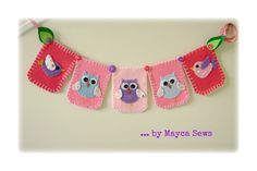 Mayca Cose: Owl Bunting. Nursery Art. Baby Shower. Felt. Reusable. Photo prop. Made to order item.