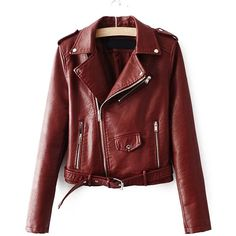 Brown Faux Leather Belted Moto Jacket With Zipper ($44) ❤ liked on Polyvore featuring outerwear, jackets, brown motorcycle jacket, red jacket, moto jacket, brown biker jacket and vegan moto jacket