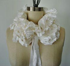 White Ruffle collar/Ruffle scarf/Modern scarf/Ruffle by marinaasta