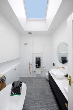 Go Skylights Velux Skylights Skylight Bathroom, Loft Bathroom, Bathroom Interior, Modern Bathroom, Master Bathroom, Loft Design, House Design, Modern Skylights, Small Bathroom With Shower