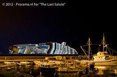 The Costa Concordia by night