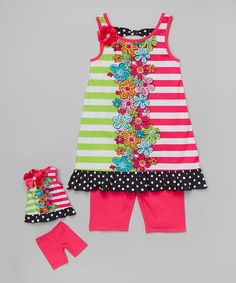 Look what I found on #zulily! Pink Floral Stripe Tunic & Leggings & Doll Outfit - Girls #zulilyfinds