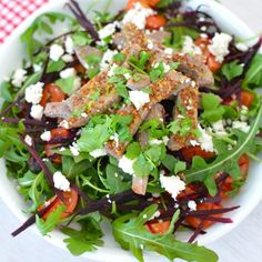 Skirt Steak with Rocket and Feta Salad :: Heat a fry pan with olive oil, or you can use the grill. Season the steak with a little sea salt and freshly cracked black pepper. Cook the steak for 4-6 minutes on each side, turning it only once. Once cooked, transfer it to a plate and let it rest for 5 minutes. // Full recipe @ http://naturalfertilitybreakthrough.com/food-nutrition/meal-plans-recipes/skirt-steak-with-rocket-and-feta-salad/