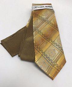 Stacy Adams Tie & Hanky Set Gold Black Silver Multi Design Hand Made Men's #StacyAdams #TieHankySet