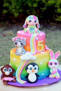 Beanie Boo Cake - cake by Znique Creations - CakesDecor Beanie Boos, Beanie Boo Party, Birthday Party Decorations, Birthday Parties, Birthday Ideas, Ty Peluche, Beanie Boo Birthdays, Kids Toys For Christmas, Cowgirl Cakes