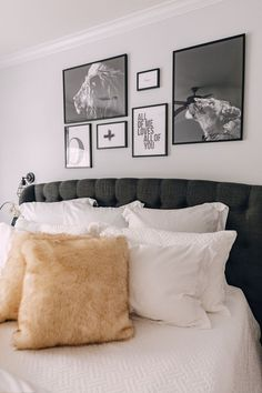 Looking for inspiration for above the bed wall art Elly Brown shares their new Master Bedroom Wall Art from Desenio. Bedroom Wall Art Above Bed, Artwork Above Bed, Bedroom Artwork, Bed Wall, Art Over Bed, Country Bedroom Design, French Country Bedrooms, Neutral Bedroom Decor, White Bedroom