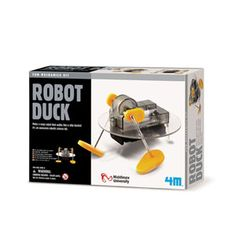 4 M  Robot Duck — Make a crazy robot that walks like a silly duckie! It's an awesome robotic science kit. Contains battery box, plastic disc, motor, screws, wires, gear box, nuts, plastic foot, metal legs and detailed instructions.