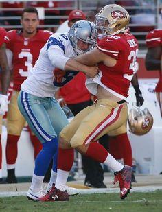 Dallas Cowboys vs. San Francisco 49ers - August 23, 2015 - San Francisco 49ers punt returner Jarryd Hayne, right, is tackled by Dallas Cowboys punter Chris Jones during the first half of an NFL preseason football game in Santa Clara, Calif., Sunday, Aug. 23, 2015.