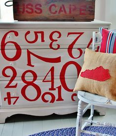 Painted number dresser.  Easy DIY on the blog thistlewoodfarms.com