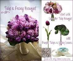 Purple and lavender tulip and peony bouquet. I think I would use the pink peonies and white tulips in a bouquet for my dining room table