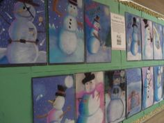 Snowman shading lesson with chalk pastels. Based upon the illustrations of Snowmen at Night.