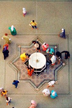 Morocco Fez Courtyard of the Zaouiya of Moulay Idriss