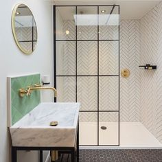 "27 Likes, 2 Comments - VADO (@vado_uk) on Instagram: ""This bathroom has it all...herringbone, hexagons, marble, black, gold taps all effortlessly put…"""