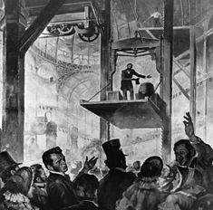 TIL that in the 1854 New York World's Fair Elisha Otis amazed a crowd when he ordered the only rope holding the platform on which he was standing cut. The rope was severed by an axeman and the platform fell only a few inches before coming to a halt and the elevator industry was on its way.