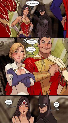 Batman, Wonder Woman, Shazam, and Power Girl