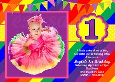 A little cake, a lot of fun, our little girl is turning one! Rainbow Birthday Invitations, Rainbow First Birthday, Rainbow Theme, Printable Birthday Invitations, Rainbow Baby, Birthday Stuff, Birthday Fun, 1st Birthday Parties, Birthday Ideas