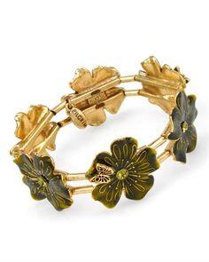 Flower inspired #bracelet by PILGRIM Pilgrim, Danish Design, Denmark, Cufflinks, Enamel, Inspired, Crystals, Flower, Elegant