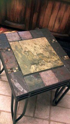 Slate tiled end tables