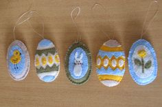 Cute felt Easter egg ornaments - Great way to use up scrap pieces of felt and decorate your house for Easter.