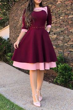 Gross Weight/Package: kg )Material:PolyesterSilhouette:A-LineHemline:Mid-CalfWaist Line:High WaistSleeve Length SleevesEmbellishments:Patchwork,BeltNeckline:Round NeckClosure:PulloverElasticity:ModerateWith Belt:YesDetachable Collar:NoPattern:Color Block Beautiful Dress Designs, Stylish Dress Designs, Beautiful Dresses, Classy Work Outfits, Classy Dress, Latest African Fashion Dresses, Women's Fashion Dresses, Stylish Dresses For Girls, Cheap Dresses