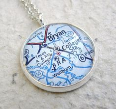 College Station Map Necklace  Home of Texas by TheGreenDaisyShop
