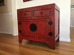Pottery Barn Emmett Console table cabinet cupboard ming red ...