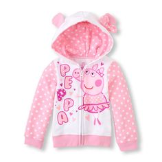 Long Sleeve Peppa the Pig Full-Zip Hooded Sweatshirt | The Children's Place
