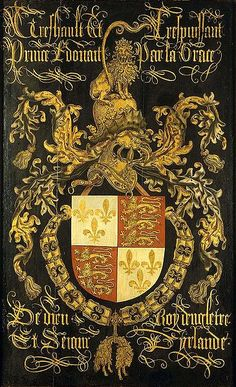 circa 1481,Coat of arms of Eduard IV, king of England,as knight in the order of the Golden Fleece.oil on panel,120х77 cm,Noordbrabants Museum.Attributed to Pierre Coustain.