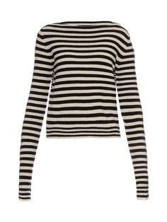Haider Ackermann's black and white striped Invidia sweater is made from a luxe blend of wool and cashmere. It has a mid-weight handle and lean boat-neck silhouette with a contrast-stripe back panel. Style it with leather trousers to stay in-line with the label's tough aesthetic.