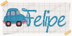 Car Border w/Name Bargello, C2c, Boy Or Girl, Alphabet, Projects To Try, Cross Stitch, Kids Rugs, Lettering, Embroidery