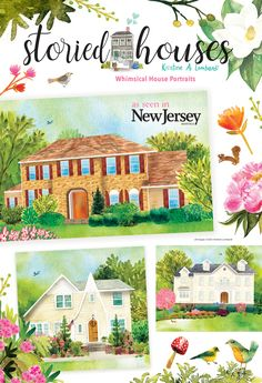 Storied Houses-Kristine Lombardi lends her charming, whimsical picture book style to create unique, one-of-a-kind house portraits.