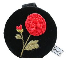 Keep your lippy in check, in the most stylish fashion possible with this season's divine Pompom compact mirror. Compact Mirror, Black Velvet, Mirrors, Coin Purse, Seasons, Stylish, Check, Accessories, Fashion
