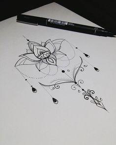 WEBSTA @ateliekefonascimento Arte desenvolvida com flor de lotus ornamental para tatuagem da @_gabbsr do estado de SP, com referências da Internet. Www.kefonascimento.com.br