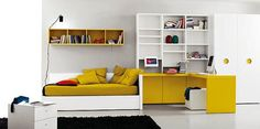 Cheerful Kids Bedroom with Gorgeous Small Kids Bedroom Ideas Black Sofa and Coffee Table and others : Minimalist Modern Style White Yellow K...