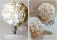 IVORY SATIN ROLLED ROSE BOUQUETS BRIDE AND BRIDESMAIDS INTERSPERSED WITH SWAROVSKI CRYSTALS