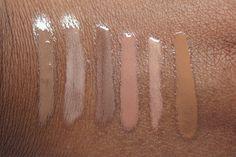 Nude lipgloss for dark skin from L-R MAC CHAI, MAC C-THRU, NYX TAUPE, MAC GAGA 2, MAC HEATHERETTE, MAC MICKEY CONTRACTOR