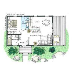 Lövsta Trähus - Tallängen Cabin Plans, House Plans, Beach Cottage Style, House Layouts, House Design, Garden Design, Beach Cottages, Cozy House, Small Living